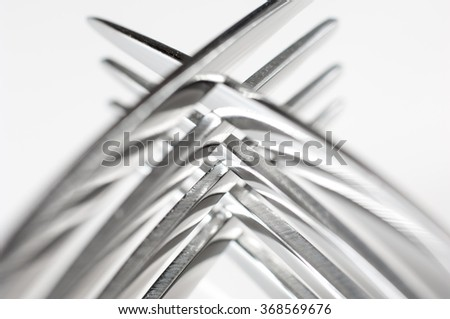 Closeup of two silver forks. - stock photo