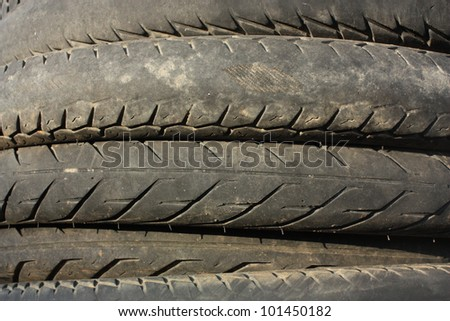Closeup of used tires - stock photo