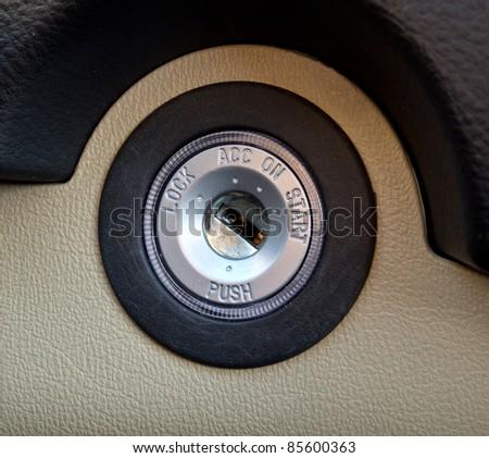 Closeup of vehicle ignition - stock photo