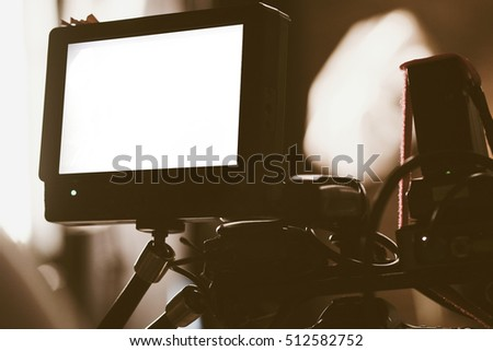 Closeup of Video camera viewfinder, film crew production