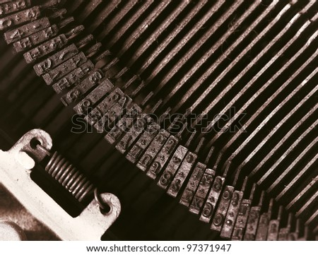 closeup of vintage typewriter metal - stock photo