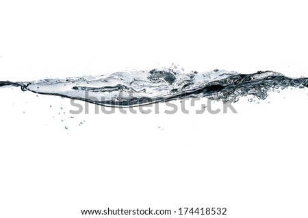 closeup of water line isolated on white - stock photo