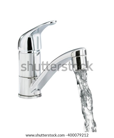 Closeup of water-supply faucet - stock photo