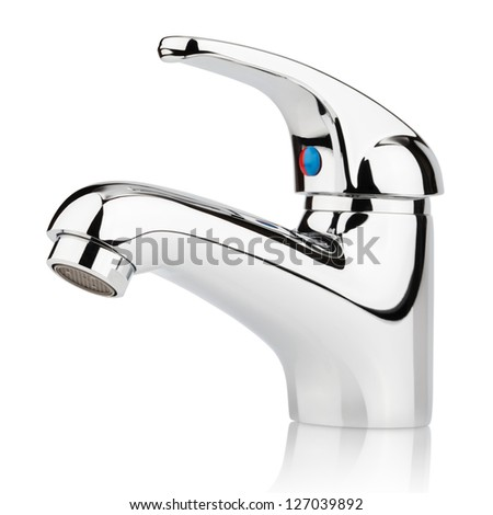 Closeup of water-supply faucet mixer for water isolated on white with clipping path - stock photo
