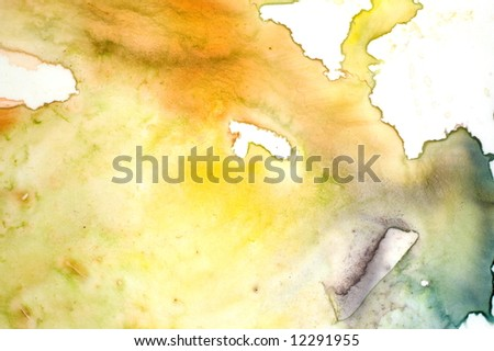Closeup of watercolor palette in yellow green - stock photo