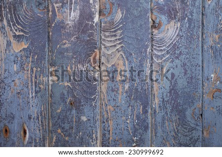 Closeup of weathered painted planks in blue tones.  - stock photo