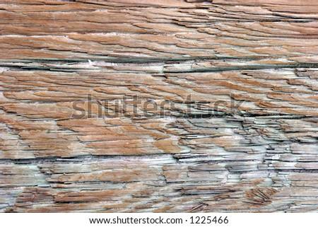 Closeup of weathered wood. - stock photo