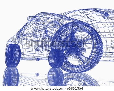 Closeup of wheels of machine on white background - stock photo