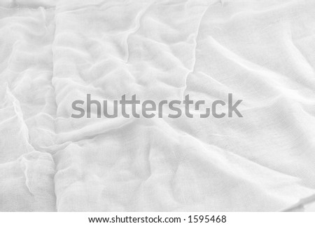 Closeup of white Gauze yardage - stock photo