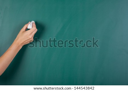 Closeup of woman's hand writing on green board