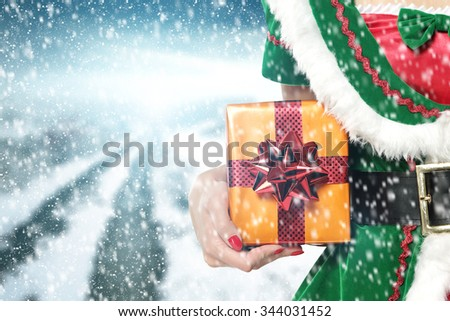 closeup of woman with box  - stock photo