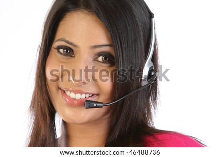 closeup of woman with microphone smiling over a white background - stock photo