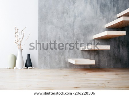 closeup of wood stair and vase ceramic - stock photo