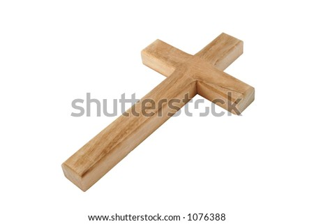 Closeup of wooden cross. Hand drawn clipping path included for maximum flexibility. - stock photo