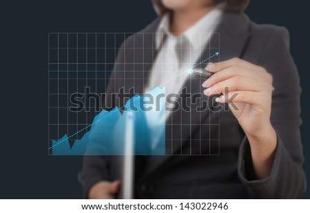 Closeup of young Asian business woman drawing graph