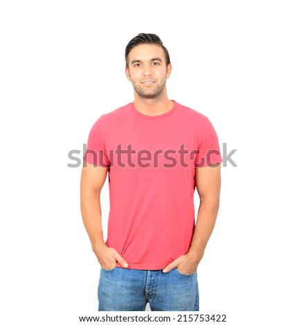 Closeup of young handsome man looking at camera - stock photo