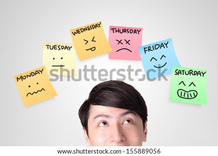 closeup of young man looking up with color stickers displaying day of week and face expression on each separate color, asian man - stock photo