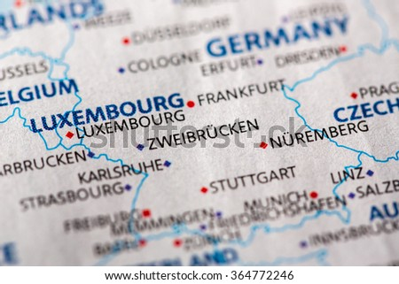 Closeup Strasbourg France On Political Map Stock Photo - Zweibrucken germany map