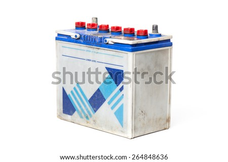 closeup old car battery on white background - stock photo