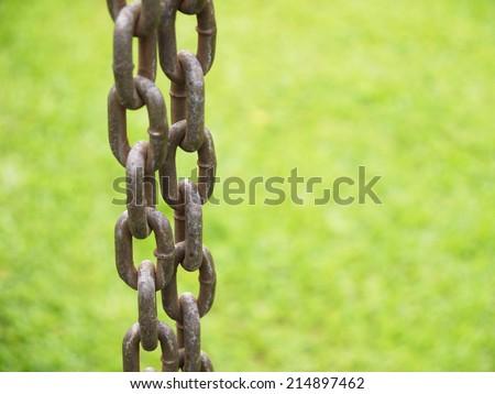 Closeup old steel chain - stock photo