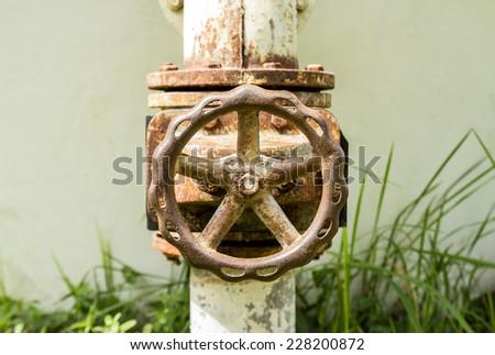 Closeup old water valve - stock photo