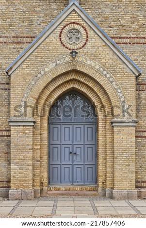 Closeup on a church door. Shot from the church at Christiansfeld, Denmark - stock photo