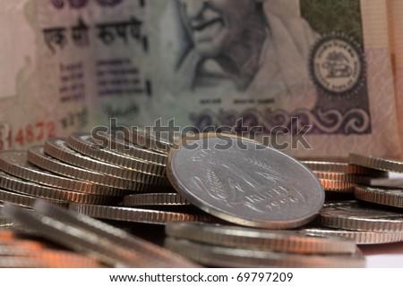 Closeup on a 1 rupee - stock photo
