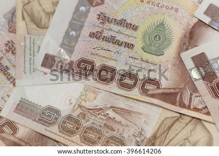 closeup on 1000 baht thai money banknotes - stock photo