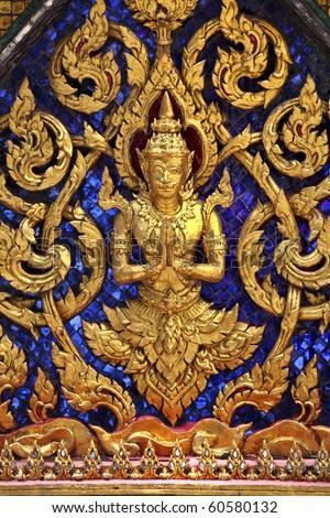 closeup on bhudda golden decor in thailand temple - stock photo
