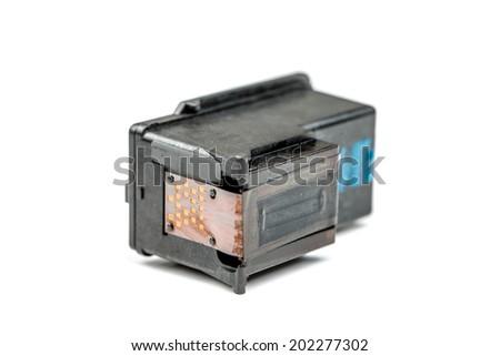 Closeup on black Ink Cartridges on White Background - stock photo
