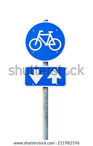 Closeup on blue and white bicycle sign on white