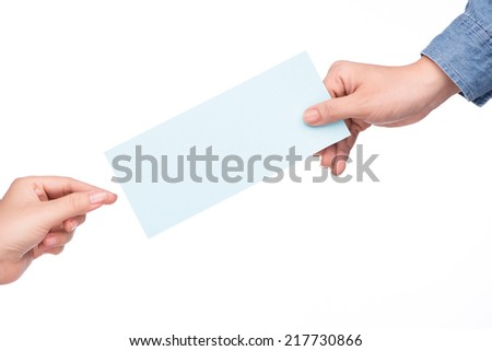 Closeup on business woman giving air tickets  - stock photo