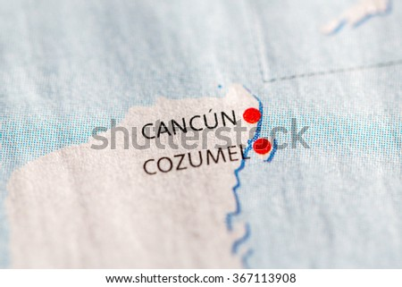 closeup on cancun and cozumel yucatan on a map of mexico
