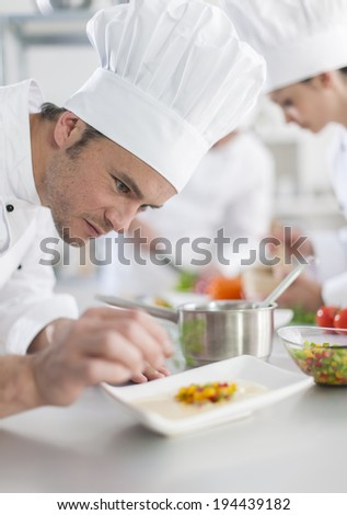closeup on chef garnishing a plate - stock photo