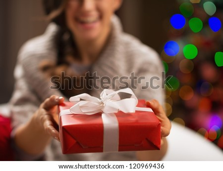 Closeup on Christmas gift box in woman hands - stock photo