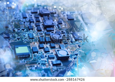 Closeup on electronic board in hardware repair shop, blurred and toned image. Shallow DOF, focus on the middle left field - stock photo