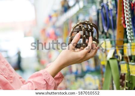closeup on female hands choosing stylish, trendy, modern muzzled for dogs on the supermarket shopping shelf background - stock photo