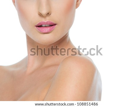 Closeup on female neck and lips isolated on white - stock photo
