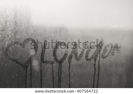 Closeup on Love heart London sign on glass background - stock photo