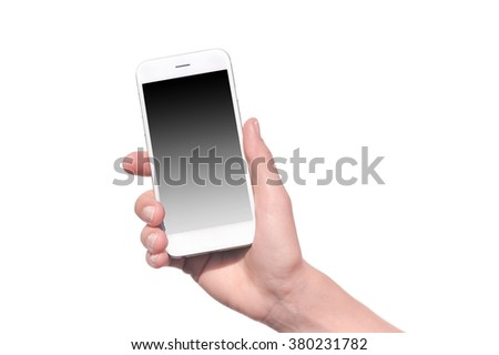 Closeup on mobile phone in hand on white background.  - stock photo