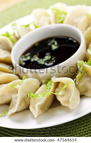 Closeup on plate of steamed dumplings with soy sauce - stock photo