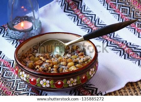 Closeup on traditional Christmas kutia dish - stock photo