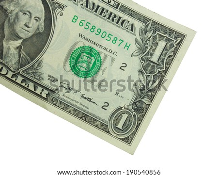 Closeup one paper dollars bill