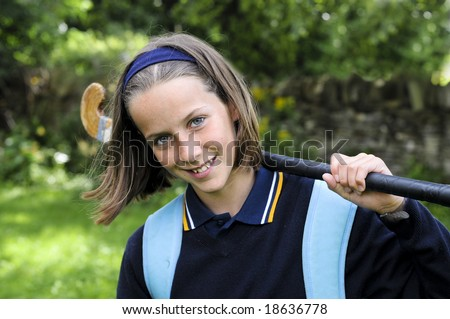 closeup outdoor portrait of school girl - stock photo