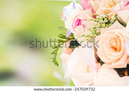 closeup pastel roses in bouquet