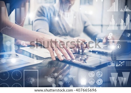 Closeup photo female hands touching screen modern tablet. Bankers team working new investment project in office.Using electronic devices. Graphics icons, stock exchanges interface. Horizontal - stock photo