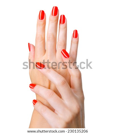Closeup photo of a beautiful female hands with red long natural nails, manicure. Isolated, over white background.