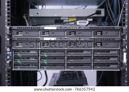 Closeup photo of a data storage center