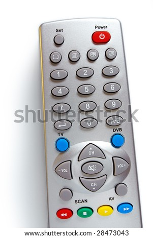Closeup photo of a television remote control over white background - stock photo