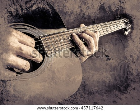 Closeup photo of an acoustic guitar played by a man. Only hands visible. Vintage painting, background illustration, beautiful picture, musical texture - stock photo